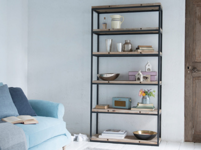 Reclaimed big solid High Five wood shelving unit with metal frame