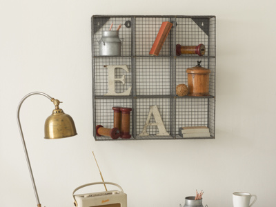 Office handmade industrial style waffle wire shelving