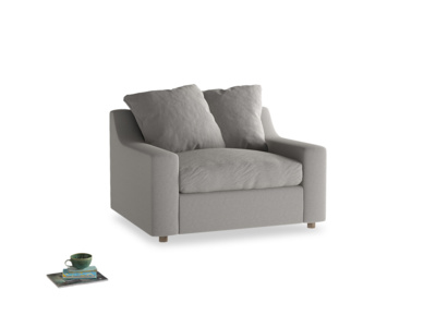 Cloud love seat sofa bed in Wolf brushed cotton