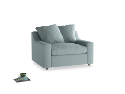 Cloud love seat sofa bed in Smoke blue brushed cotton