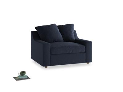 Cloud love seat sofa bed in Indigo vintage linen