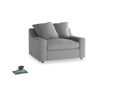 Cloud love seat sofa bed in Magnesium washed cotton linen