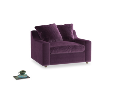 Cloud love seat sofa bed in Grape clever velvet