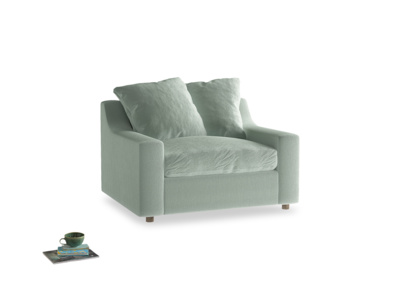 Cloud love seat sofa bed in Mint clever velvet
