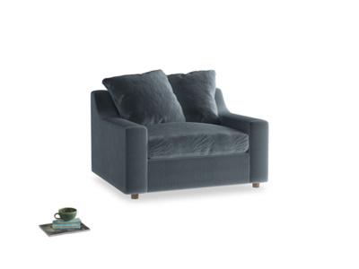 Cloud love seat sofa bed in Mermaid plush velvet