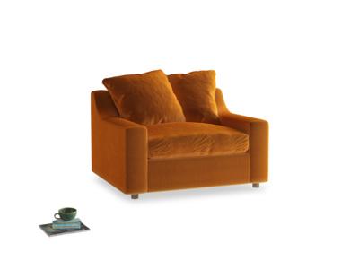 Cloud love seat sofa bed in Spiced Orange clever velvet