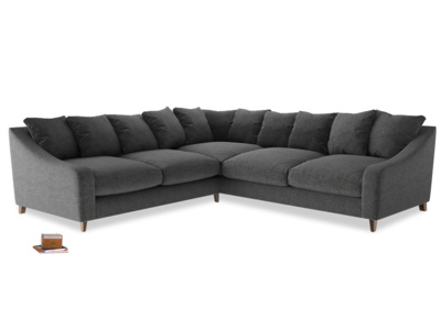 Even Sided Oscar Corner Sofa  in Shadow Grey wool