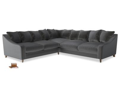 Even Sided Oscar Corner Sofa  in Steel clever velvet