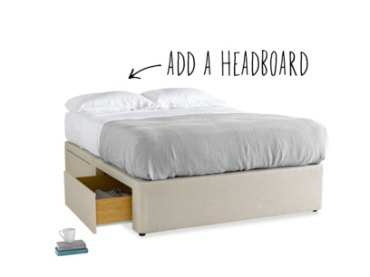 Tight Space divan upholstered bed with storage drawers