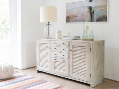 Grand Sucre large sideboard hand carved with beached timber finish