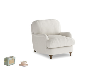 Jonesy Armchair in Oyster white clever linen