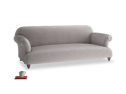 Large Soufflé Sofa in Soothing grey vintage velvet