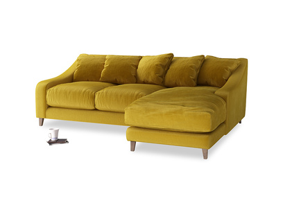 Large right hand Oscar Chaise Sofa in Burnt yellow vintage velvet