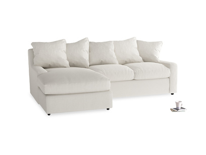 Large left hand Cloud Chaise Sofa in Oyster white clever linen