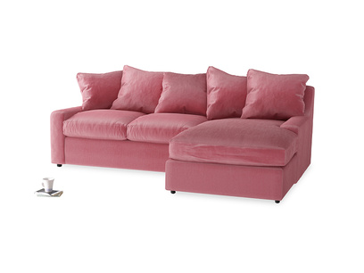 Large right hand Cloud Chaise Sofa in Blushed pink vintage velvet