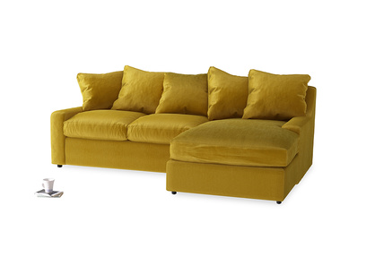 Large right hand Cloud Chaise Sofa in Burnt yellow vintage velvet