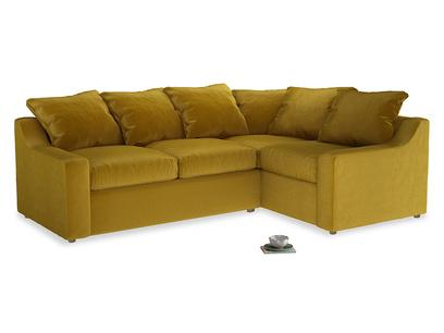 Large Right Hand Cloud Corner Sofa in Burnt yellow vintage velvet