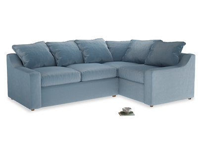 Large right hand Cloud Corner Sofa Bed in Chalky blue vintage velvet