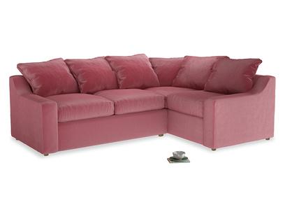 Large right hand Cloud Corner Sofa Bed in Blushed pink vintage velvet