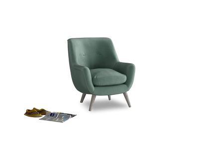 Berlin Armchair in Sea blue vintage velvet