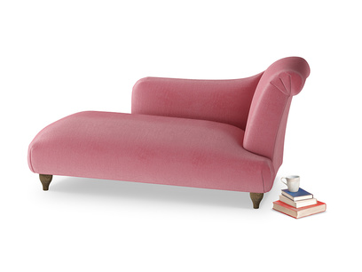 Right Hand Brontë Chaise Longue in Blushed pink vintage velvet