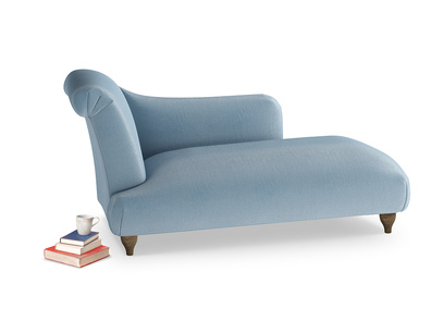 Left Hand Brontë Chaise Longue in Chalky blue vintage velvet