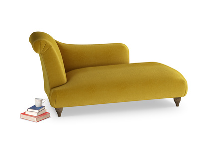 Left Hand Brontë Chaise Longue in Burnt yellow vintage velvet