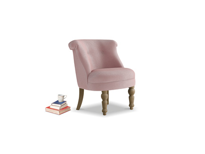 Bovary Armchair in Chalky Pink vintage velvet
