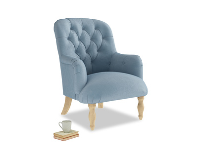 Flump Armchair in Chalky blue vintage velvet