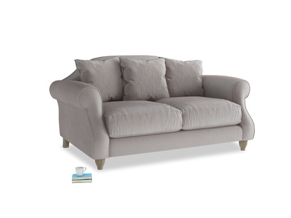 Small Sloucher Sofa in Soothing grey vintage velvet
