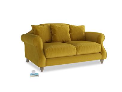 Small Sloucher Sofa in Burnt yellow vintage velvet