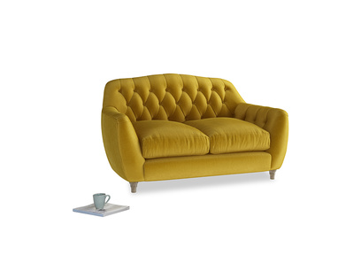 Small Butterbump Sofa in Burnt yellow vintage velvet