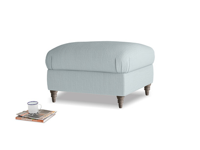 Square Flatster Footstool in Quail's egg clever linen