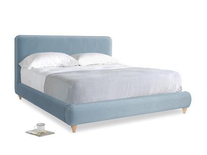 Superking Ruffle Bed in Chalky blue vintage velvet