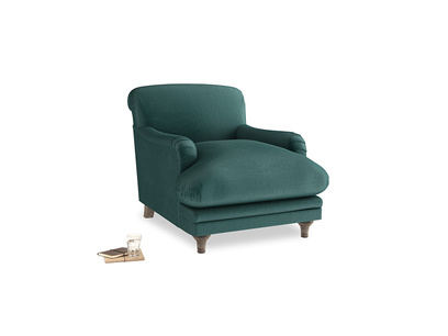 Pudding Armchair in Timeless teal vintage velvet