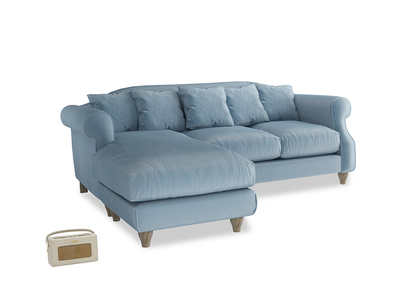 Large left hand Sloucher Chaise Sofa in Chalky blue vintage velvet