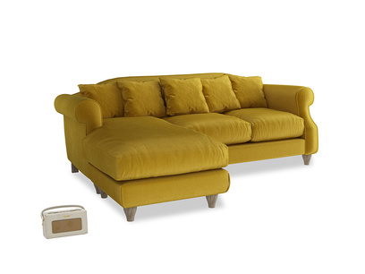 Large left hand Sloucher Chaise Sofa in Burnt yellow vintage velvet