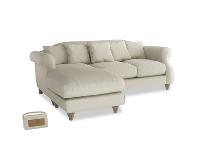 Large left hand Sloucher Chaise Sofa in Pale rope clever linen