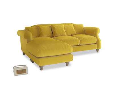 Large left hand Sloucher Chaise Sofa in Bumblebee clever velvet