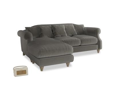 Large left hand Sloucher Chaise Sofa in Slate clever velvet