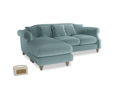Large left hand Sloucher Chaise Sofa in Lagoon clever velvet