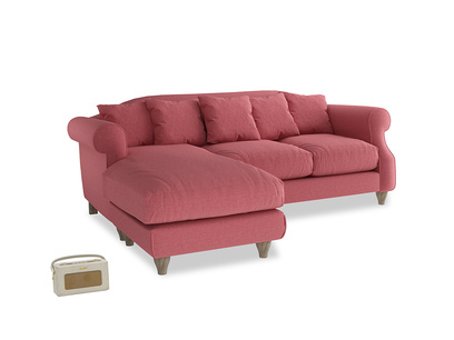 Large left hand Sloucher Chaise Sofa in Raspberry brushed cotton