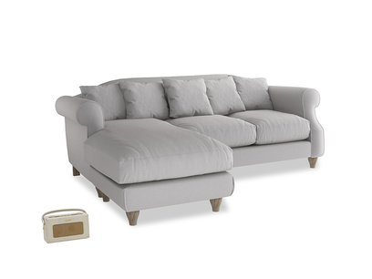 Large left hand Sloucher Chaise Sofa in Flint brushed cotton