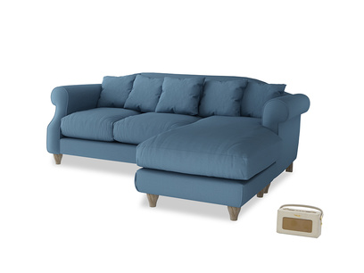 Large right hand Sloucher Chaise Sofa in Easy blue clever linen