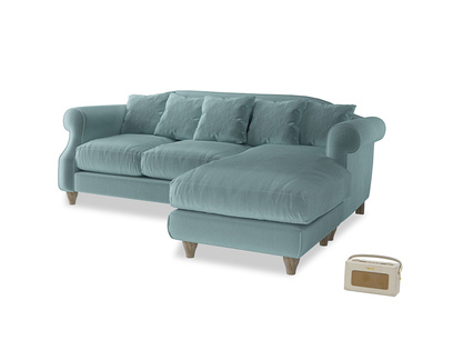 Large right hand Sloucher Chaise Sofa in Lagoon clever velvet