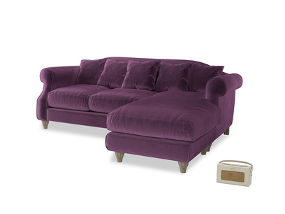 Large right hand Sloucher Chaise Sofa in Grape clever velvet