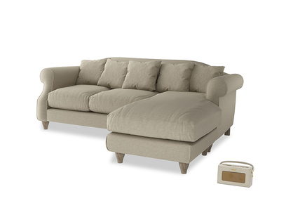 Large right hand Sloucher Chaise Sofa in Jute vintage linen