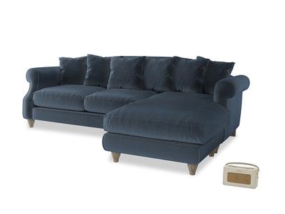 XL Right Hand  Sloucher Chaise Sofa in Liquorice Blue clever velvet