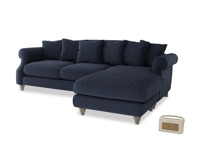 XL Right Hand  Sloucher Chaise Sofa in Indigo vintage linen