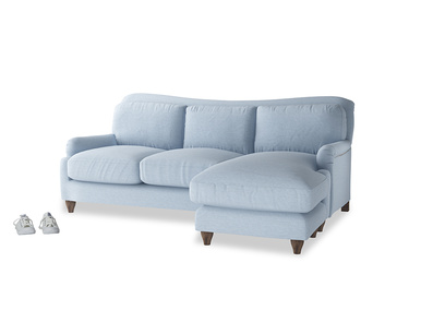Large right hand Pavlova Chaise Sofa in Chalky blue vintage velvet